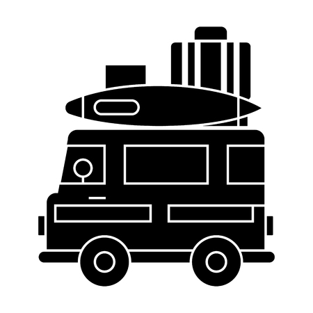 caravan, travel camping trailer  icon, vector illustration, black sign on isolated background Illustration