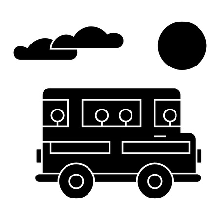 travel bus  icon, vector illustration, black sign on isolated background Ilustração