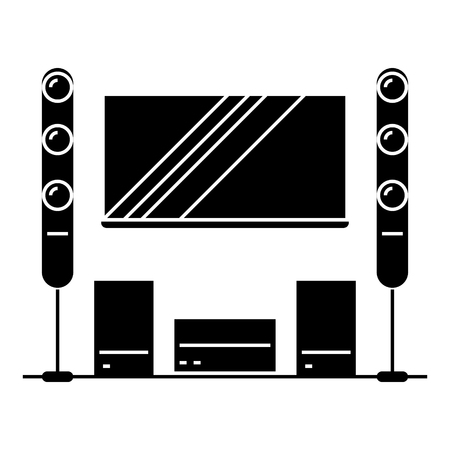 cinema room, home theater  icon, vector illustration, black sign on isolated background