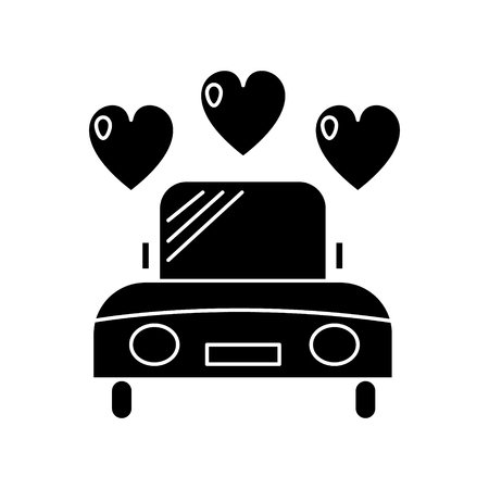 car wedding  icon, vector illustration, black sign on isolated background