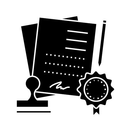 acuerdo, contrato, icono, vector, ilustración, negro, señal, en, fondo aislado Ilustración de vector