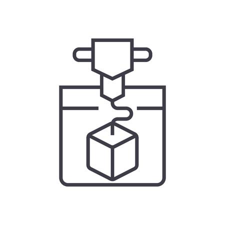 Service-Ikone des Druckens 3d, Vektorillustration, schwarzes Zeichen auf lokalisiertem Hintergrund Standard-Bild - 88157738