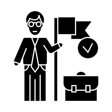 accomplished business mission   icon, vector illustration, black sign on isolated background