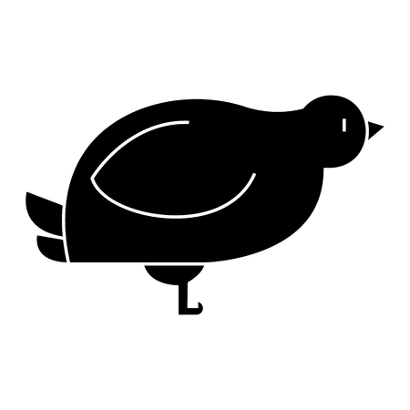 dove, quail  icon, vector illustration, black sign on isolated background