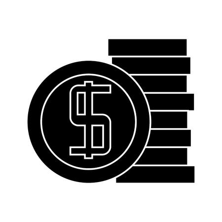 Icona di monete, illustrazione vettoriale, segno nero su sfondo isolato Archivio Fotografico - 88157759