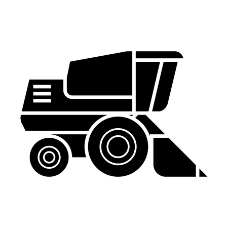 combine harvester  icon, vector illustration, black sign on isolated background Illusztráció
