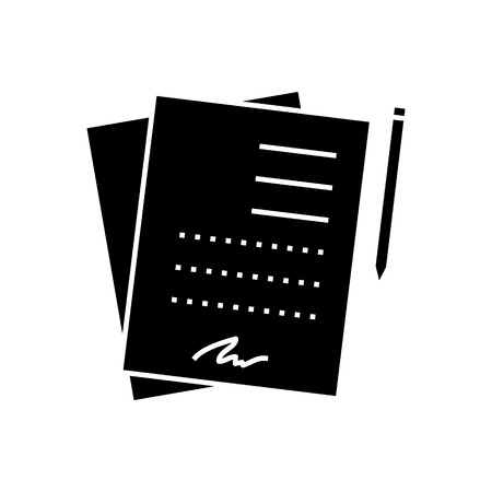 formal signature: contract signing documents  icon, vector illustration, black sign on isolated background