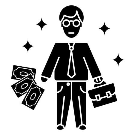 ceo office: businessman  icon, vector illustration, black sign on isolated background