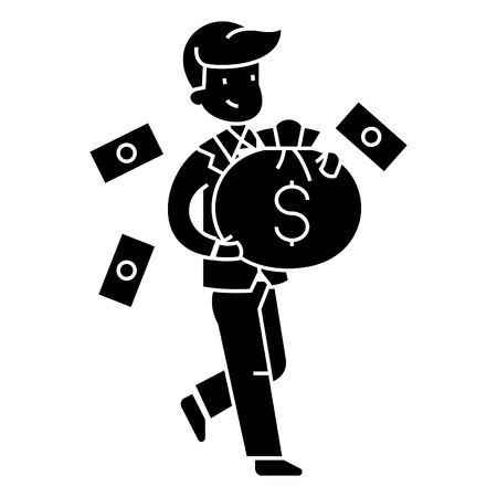 businessman with money bag  icon, vector illustration, black sign on isolated background