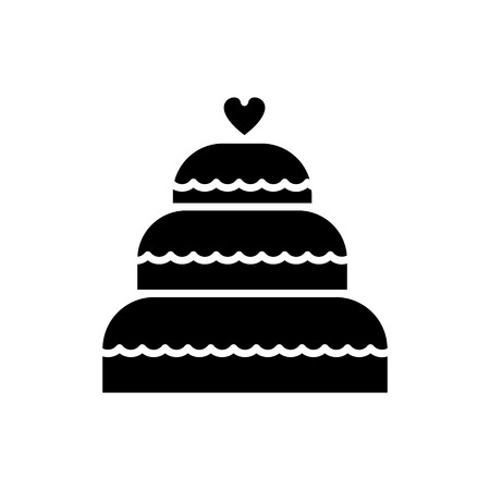 cake wedding  icon, vector illustration, black sign on isolated background