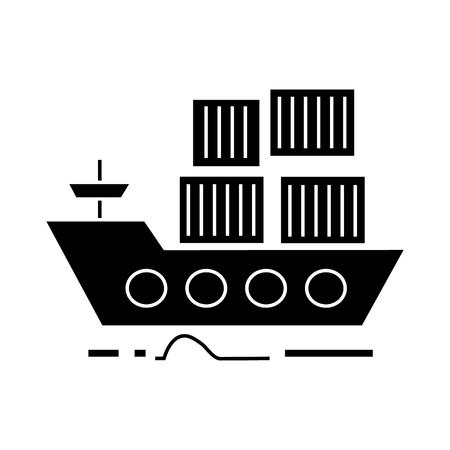 Consegna del carico dall'icona della nave del mare, illustrazione di vettore, segno nero su fondo isolato Archivio Fotografico - 88157774