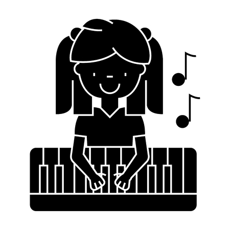 girl playing on piano  icon, vector illustration, black sign on isolated background Illustration
