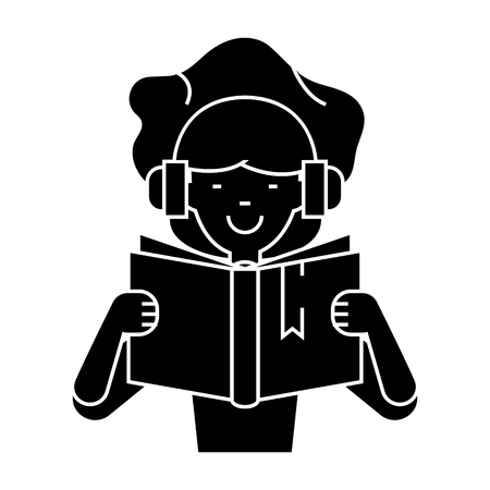 girl reading book in earphones  icon, vector illustration, black sign on isolated background
