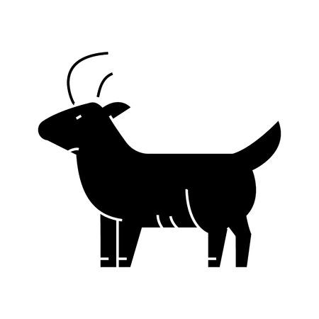 ヤギのアイコン、ベクトルイラスト、孤立した背景に黒いサイン 写真素材 - 88157780