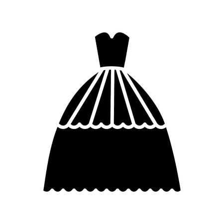 bridal evening dress   icon, vector illustration, black sign on isolated background 向量圖像