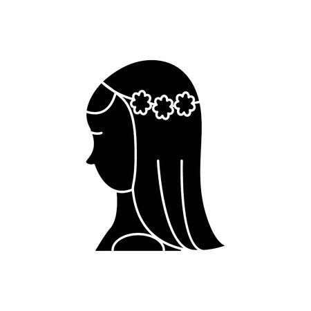 Brautikone, Vektorillustration, schwarzes Zeichen auf lokalisiertem Hintergrund Standard-Bild - 88157786