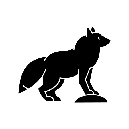 fox  icon, vector illustration, black sign on isolated background 向量圖像