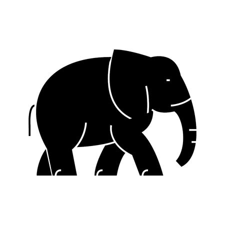 olifant pictogram, vectorillustratie, zwarte ondertekenen op geïsoleerde achtergrond