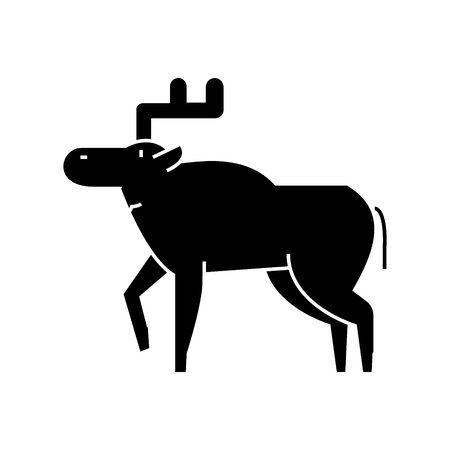 elk  icon, vector illustration, black sign on isolated background Illustration