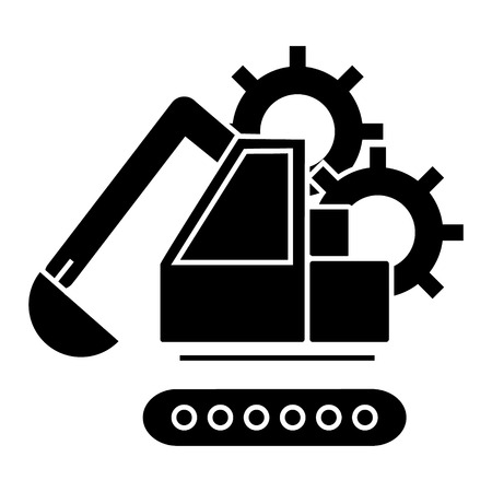 excavator  icon, vector illustration, black sign on isolated background