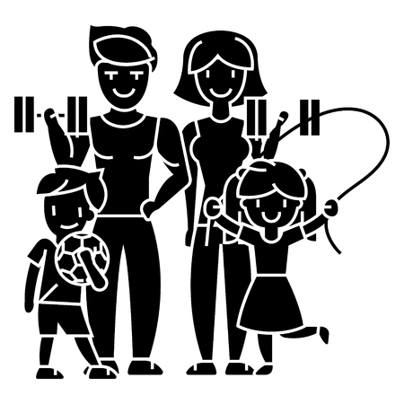 family active happy sport gym  icon, vector illustration, black sign on isolated background