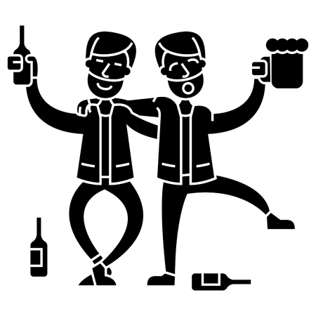 drunk people, two men drinking  icon, vector illustration, black sign on isolated background