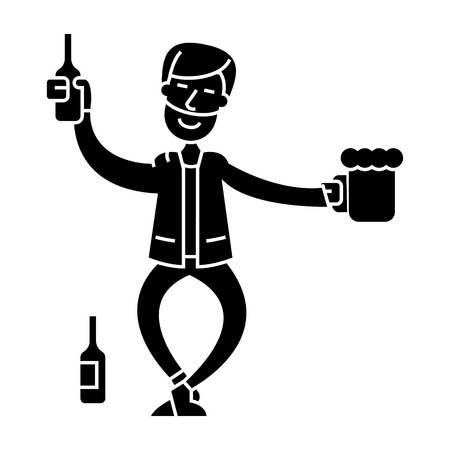 drunk man  icon, vector illustration, black sign on isolated background
