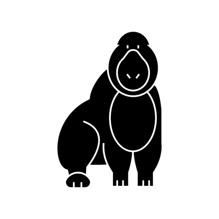 gorilla  icon, vector illustration, black sign on isolated background