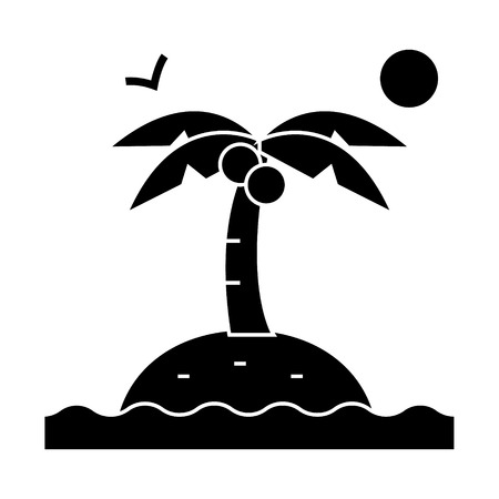 island with palms  icon, vector illustration, black sign on isolated background