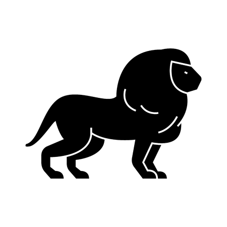 lion  icon, vector illustration, black sign on isolated background