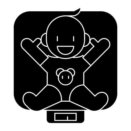 Baby op schalen icoon, vectorillustratie, zwart teken op geïsoleerde achtergrond Stock Illustratie