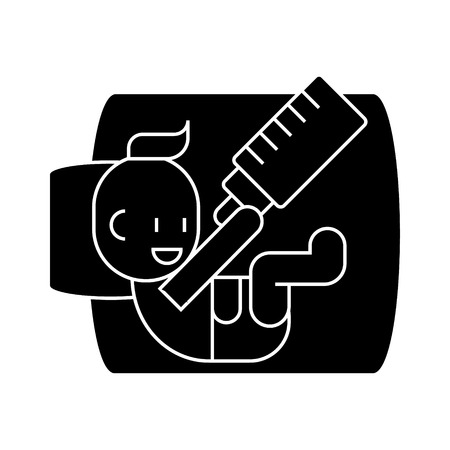 Baby with bottle  icon, vector illustration, black sign on isolated background Illustration