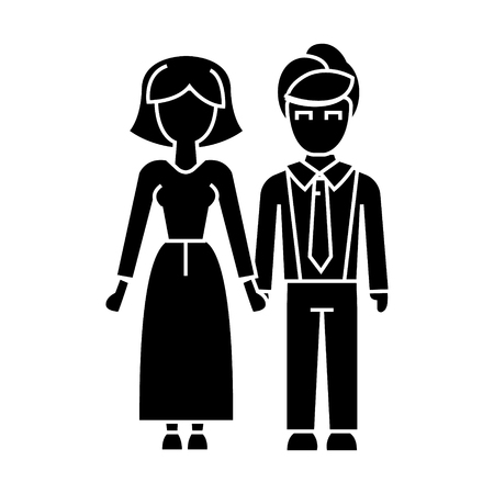 family, woman and man  icon, vector illustration, black sign on isolated background