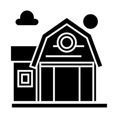 boerderij fron pictogram, vectorillustratie, zwarte ondertekenen op geïsoleerde achtergrond