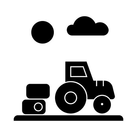 農場の収穫、トラクターのアイコン、ベクトルイラスト、孤立した背景に黒いサイン  イラスト・ベクター素材