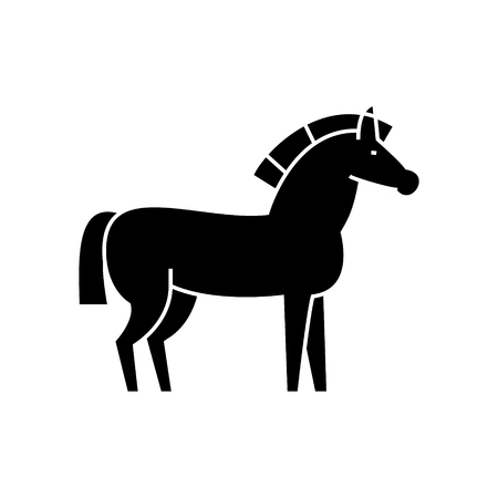 horse  icon, vector illustration, black sign on isolated background Çizim
