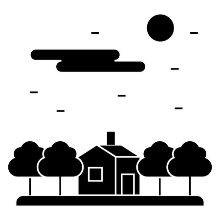 house in forest, night  icon, vector illustration, black sign on isolated background