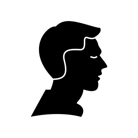man profile  icon, vector illustration, black sign on isolated background