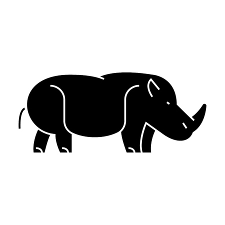 hippopotamus, hippo  icon, vector illustration, black sign on isolated background