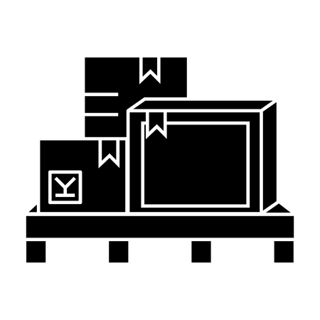 Boxes cargo logistics  icon, vector illustration, black sign on isolated background