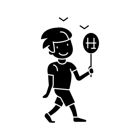 Boy walking with candy  icon, vector illustration, black sign on isolated background Banco de Imagens - 88157950
