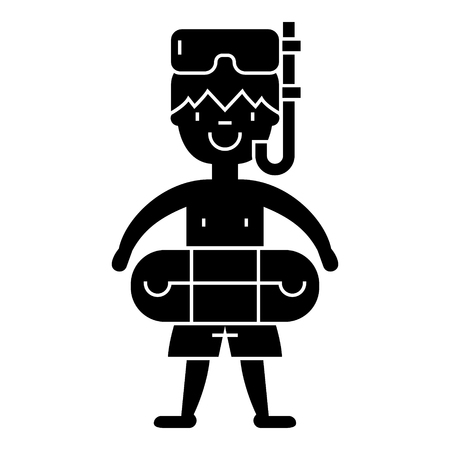 scuba goggles: boy with swimming mask in pool  icon, vector illustration, black sign on isolated background