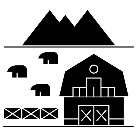 farm in tuscany  icon, vector illustration, black sign on isolated background Çizim