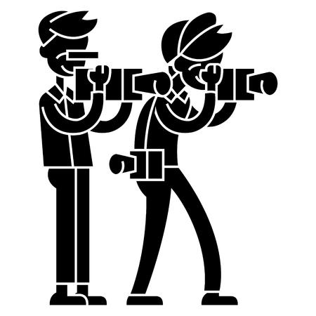 Paparazzi  icon, vector illustration, black sign on isolated background Illustration