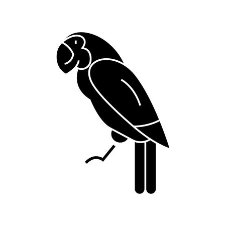 Papegaaipictogram, vectorillustratie, zwart teken op geïsoleerde achtergrond Stockfoto - 88157983