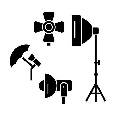 photo light studio  icon, vector illustration, black sign on isolated background Illusztráció