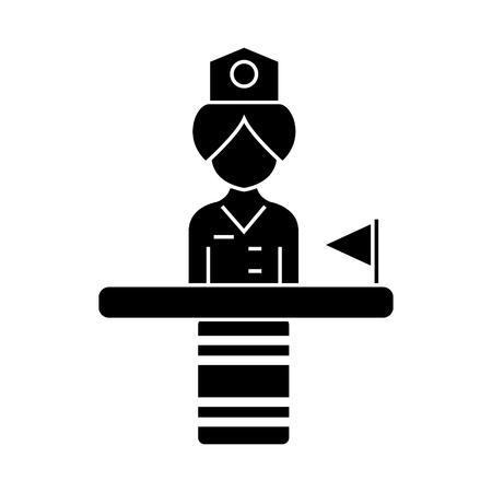Tecepcionist  icon, vector illustration, black sign on isolated background