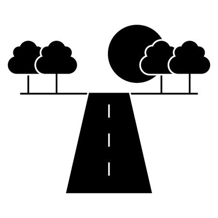 Road horizontal  icon, vector illustration, black sign on isolated background