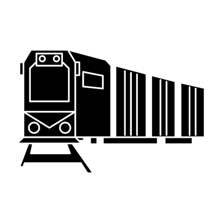Railway logistics, train cargo  icon, vector illustration, black sign on isolated background