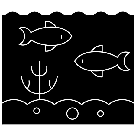 海洋概念アイコン、ベクトル図では、孤立の背景に黒い印